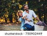 happy young couple enjoying... | Shutterstock . vector #750902449