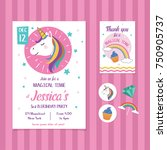 unicorn birthday invitation... | Shutterstock .eps vector #750905737