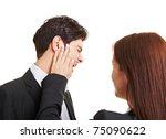 woman slaping businessman in...   Shutterstock . vector #75090622