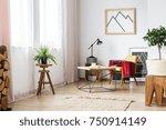 apartment corner with mustard...   Shutterstock . vector #750914149
