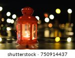 red vintage lantern lamp and... | Shutterstock . vector #750914437