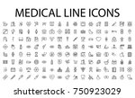 medical icons set. line icons ... | Shutterstock . vector #750923029