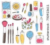 hand darwn vector cosmetic set. ... | Shutterstock .eps vector #750923611