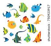 collection of cartoon reef fish ... | Shutterstock .eps vector #750923917