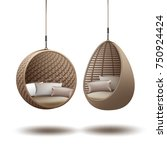 vector wicker hanging chairs... | Shutterstock .eps vector #750924424