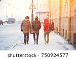 three friends walk the streets... | Shutterstock . vector #750924577