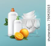 vector set of clean dishes and... | Shutterstock .eps vector #750925315