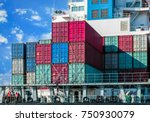 close up of stacked cargo... | Shutterstock . vector #750930079