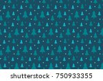 endless christmas pattern with... | Shutterstock .eps vector #750933355