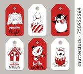 vector set of six holiday... | Shutterstock .eps vector #750933364