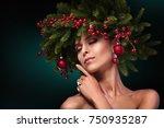 christmas girl makeup. winter... | Shutterstock . vector #750935287
