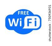 blue wifi icon vector.... | Shutterstock .eps vector #750936931