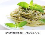 pasta with pesto sauce  fresh... | Shutterstock . vector #75093778