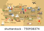 map of turkey with main sights... | Shutterstock .eps vector #750938374