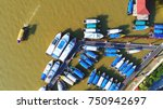 aerial view. boat taking... | Shutterstock . vector #750942697