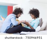 young multiethnic couple... | Shutterstock . vector #750946951
