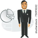 happy businessman next to pie... | Shutterstock .eps vector #75095032