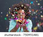 beautiful young black woman... | Shutterstock . vector #750951481