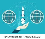 human hand holing the starting... | Shutterstock .eps vector #750952129