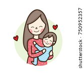 happy young woman  mother...   Shutterstock .eps vector #750952357