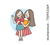 happy young woman  mother... | Shutterstock .eps vector #750952369
