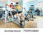 group of sportive friends using ...   Shutterstock . vector #750953884