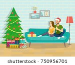 happy young couple is holding... | Shutterstock .eps vector #750956701