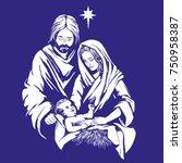 christmas story. mary  joseph... | Shutterstock .eps vector #750958387