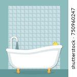 nostalgic bath tub with legs | Shutterstock .eps vector #750960247