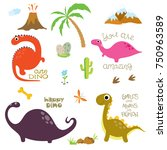 cute vector dinosaurs isolated... | Shutterstock .eps vector #750963589