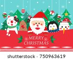 merry christmas greeting card... | Shutterstock .eps vector #750963619