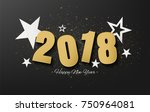 happy new year 2018 vector... | Shutterstock .eps vector #750964081