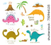 cute vector dinosaurs isolated... | Shutterstock .eps vector #750964135