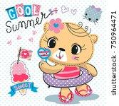 cute cartoon cat in rubber ring ... | Shutterstock .eps vector #750964471