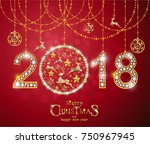 christmas greeting and new... | Shutterstock .eps vector #750967945
