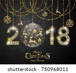 christmas greeting and new... | Shutterstock .eps vector #750968011