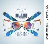 colored ski club poster with...   Shutterstock .eps vector #750969427