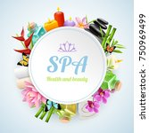 spa round frame formed from set ... | Shutterstock .eps vector #750969499