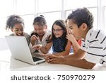 a group of curious children... | Shutterstock . vector #750970279