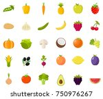 vegetables fruits icon set flat ... | Shutterstock .eps vector #750976267