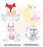 cute cartoon foxy fox wolf... | Shutterstock .eps vector #750984694