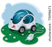green energy car. vector... | Shutterstock .eps vector #75098671