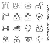 thin line icon set  ... | Shutterstock .eps vector #750989695
