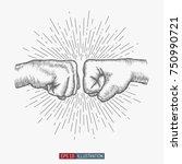 hand drawn hand gesture. fist... | Shutterstock .eps vector #750990721