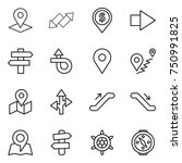 thin line icon set   pointer ... | Shutterstock .eps vector #750991825