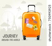 modern suitcase with travel... | Shutterstock .eps vector #750993925