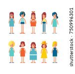 big set of characters in flat... | Shutterstock .eps vector #750996301