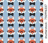 cute cartoon foxes  vector... | Shutterstock .eps vector #750996337