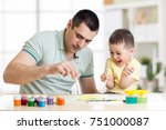 father and child little boy of... | Shutterstock . vector #751000087