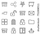 thin line icon set   shop ... | Shutterstock .eps vector #751008511